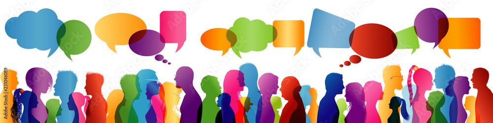Fototapeta Crowd talking. Group of people talking. Communication between people. Colored profile silhouette. Speech bubble