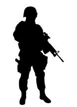 Army Soldier, Police Special Forces, SWAT Officer In Uniforms And Helmet Standing With Service Rifle In Hands Full Length Vector Silhouette Isolated On White Background. Counter-terrorist Team Fighter