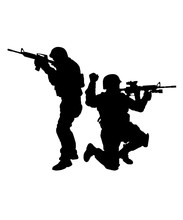 Army Or Police Special Forces Tactical Unit, SWAT Team, Counter-terrorist Group Fighters Moving Forward, Giving Hand Signals, Aiming And Shooting With Service Rifle Vector Silhouette Isolated On White