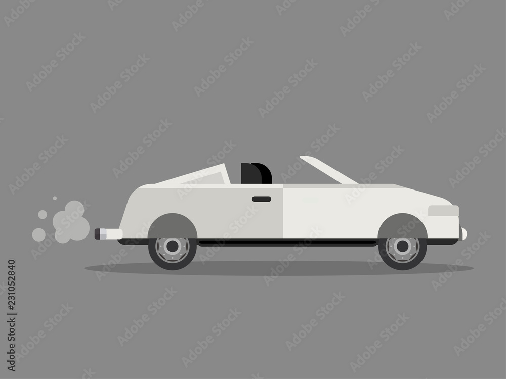vintage old car white vector set