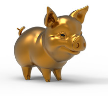 The Golden Pig  Isolated On Th...