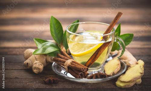 Staande foto Thee Healthy ginger tea with lemon