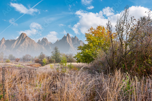 late autumn frosty day composite image. tall grass and trees in fall foliage. mountains with high peaks in the distance under the bright blue sky with fluffy clouds