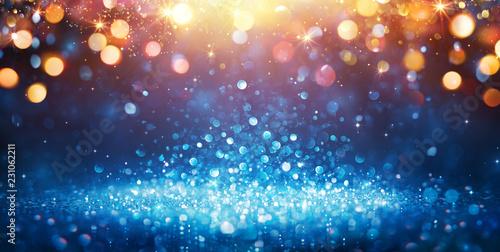 Obraz Abstract Glittering - Blue Glitter With Golden Christmas Lights And Shiny sparkling Background  - fototapety do salonu