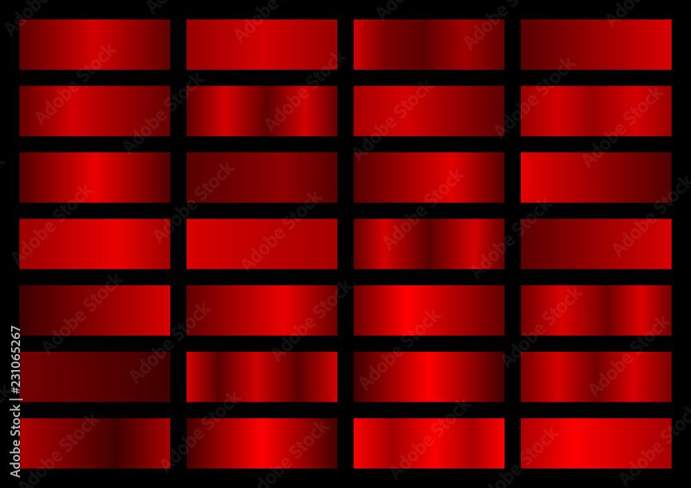 Fototapeta Vector collection of red metallic gradients, chrome christmas gradient set