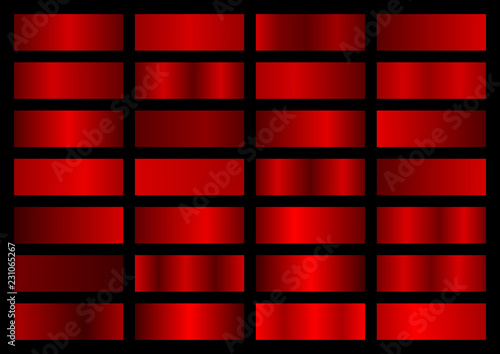 Fototapeta Vector collection of red metallic gradients, chrome christmas gradient set obraz