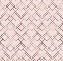 Elegant Sparkle Geometric Seamless Pattern With Bronze Foil Texture. Trendy Glitter Wallpaper. Modern Premium Chic Background.