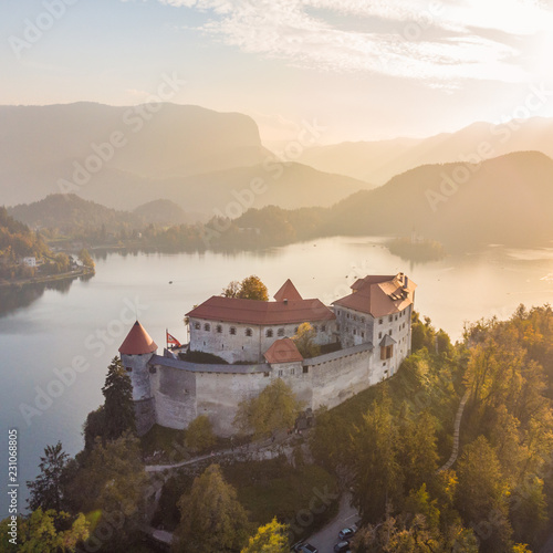 Poster Europese Plekken Aerial view of medieval castle by the lake Bled in Slovenia. Beautiful nature of Slovenia in fall.