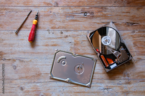 hard disk disassembled