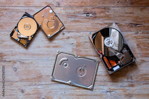 Fotografia  hard disk disassembled