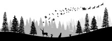 Christmas Black Silhouette. Panorama Of Santa Claus Riding Sleigh With Deers. Winters New Year Landscape. Forest Scene. Holidays Background