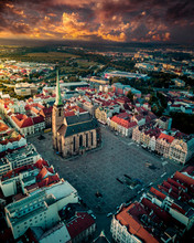 Aerial Of A Church In The Czec...