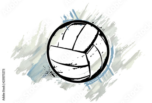 fototapeta na lodówkę Volleyball ball with a watercolor effect. Vector illustration.