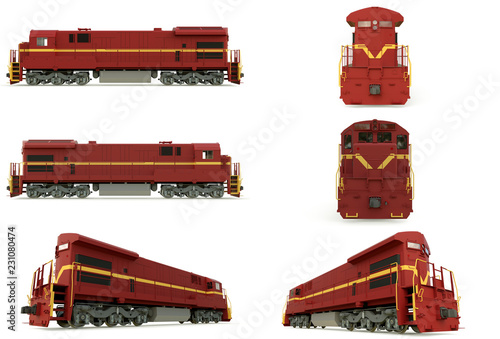 Modern diesel railway locomotive with great power and strength for