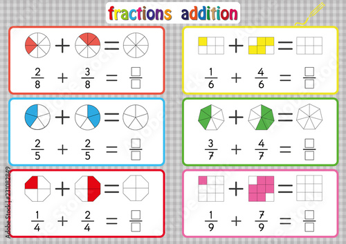 Fractions Addition, Printable Fractions Worksheets for students and Teachers, fraction addition problems Canvas Print