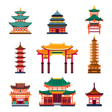 Colorful Chinese Buildings, Vector Flat Isolated Illustration. China Town Traditional Pagoda House.