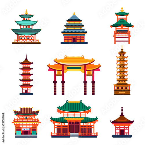 Fényképezés Colorful Chinese buildings, vector flat isolated illustration