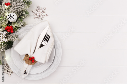 Christmas and new year table setting