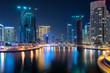 Dubai Marina at night, sunset in Dubai Marina