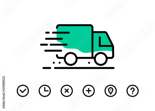 Fototapeta Fast shipping delivery truck. Set of Line icons. Vector illustration for apps and websites obraz