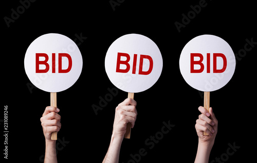 Photo Bidders' hands lifting auction paddles