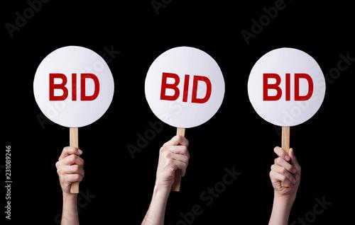 Bidders' hands lifting auction paddles Wallpaper Mural