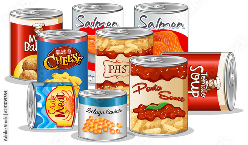 Set of canned food Canvas Print