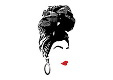 African Scarf, Portrait Afro Woman In A Striped Turban. Tribal Wrap Fashion, Ankara, Kente, Kitenge, African Women Dresses. Nigerian Style, Ghanaian Headwrap. Vector For Print, Poster, T-shirt, Card