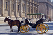 Horse carriage in Seville, the Seville cathedral in the background, Andalusia, Spain