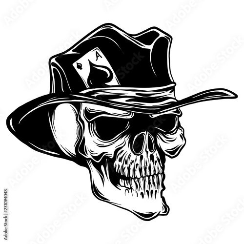 Fotografía  vector skull with top hat and ace of spades