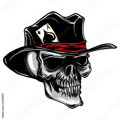 Fotomural vector skull with top hat and ace of spades
