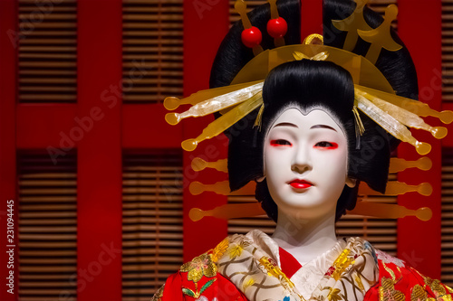 Life size dolls portray traditional Japanese stage performance at Edo Tokyo Muse Wallpaper Mural