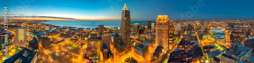 Obraz 360 Degree Panoramic View of Ceveland Ohio from the Terminal Tower - fototapety do salonu
