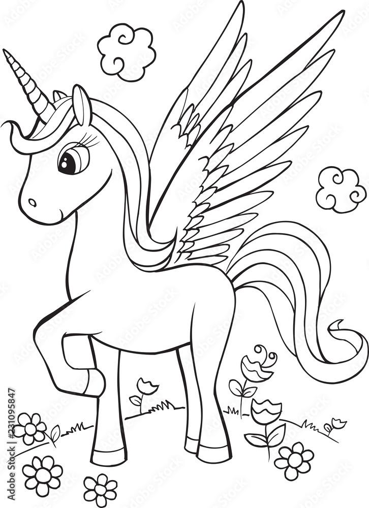 fotobehang unicorn vector illustration foto4art
