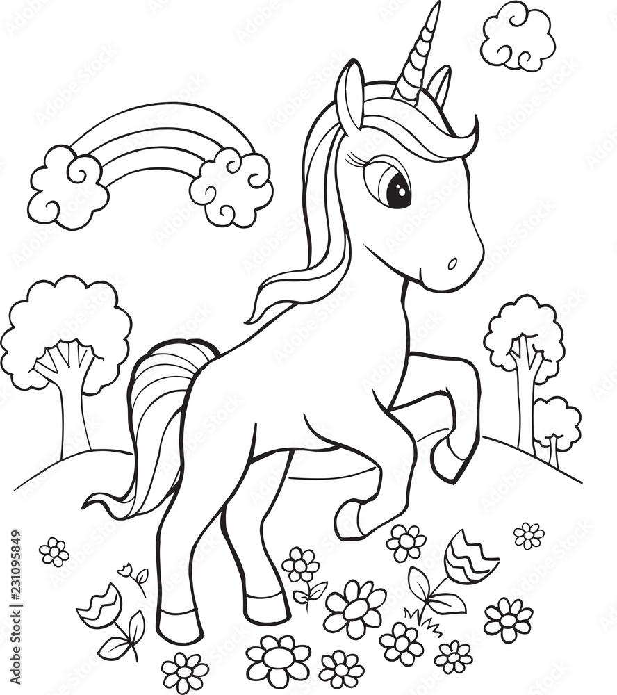 Poster Cute Unicorn Vector Illustration Art Nikkel Art