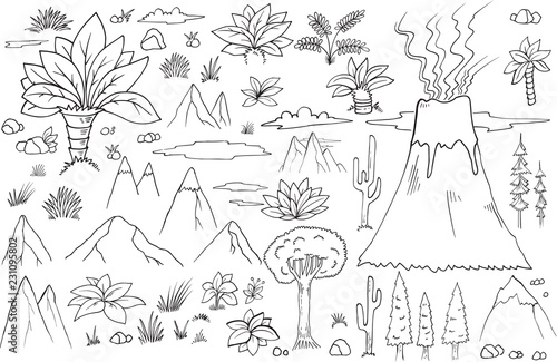Spoed Fotobehang Cartoon draw Nature Graphic Resource Doodles Vector Set