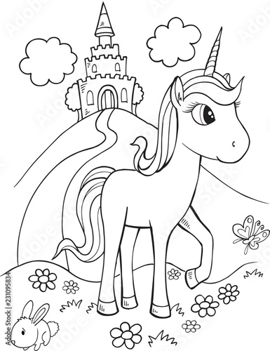 Door stickers Cartoon draw Cute Unicorn Vector Illustration Art