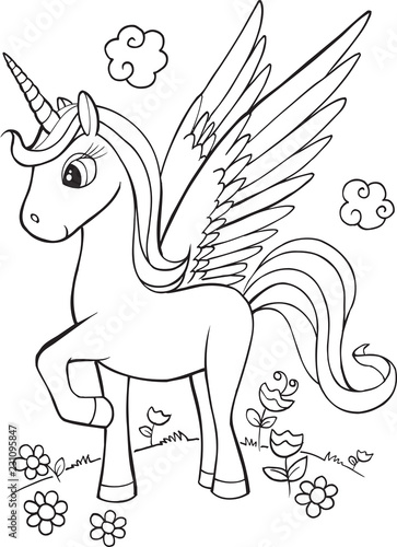 Spoed Foto op Canvas Cartoon draw Cute Unicorn Vector Illustration Art