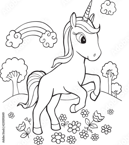 Foto op Aluminium Cartoon draw Cute Unicorn Vector Illustration Art