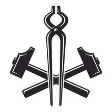 Vintage Crossed Hammers And Pliers, Monochrome Icon, Blacksmith Tools. Vector Illustration, Isolated On White Background. Simple Shape For Design Logo, Emblem, Symbol, Sign, Badge, Label, Stamp.