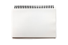 Blank Graph Paper Drafting Notebook, Isolated On White. Very Slight Paper Wrinkle On Right Hand Side For Authenticity.