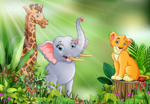 Foto op Canvas Katten Cartoon of the nature scene with different animals