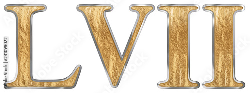 Valokuva Roman numeral LVII, septem et quinquaginta, 57, fifty seven, isolated on white b