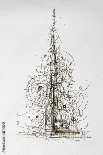 Creative Concept Christmas Tree Abstract Ink Pen Drawing