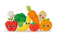 Vegetables And Fruits Character Collection