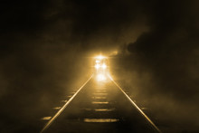 Old Trains Run Through At Night On Sky Cloud Storm Background