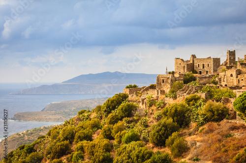 Foto op Aluminium Historisch geb. Tower houses in Vathia Greece Mani Peninsula