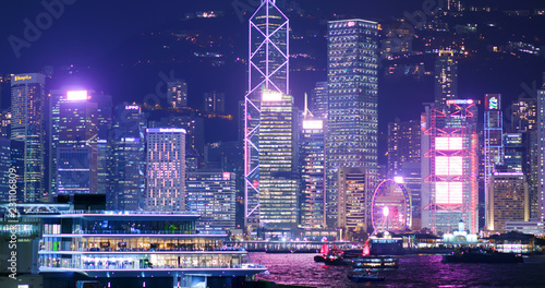Photo  Hong Kong city at night