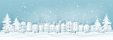 Fototapeta Miasto - Winter city with houses, buildings and Christmas tree, Christmas card in paper cut style vector illustration