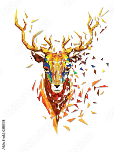 Fotografie, Obraz Deer head lowpolygon geometric pattern vector eps10